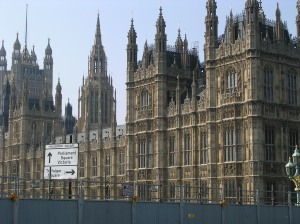 Westiminster: the Houses of Parliament.