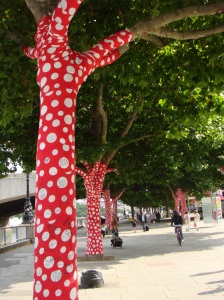 "One of 25 Thames-side trees transformed by 80-year-old Yayoi Kusama, part of ""Walking in My Mind"" exhibit, summer 2009."